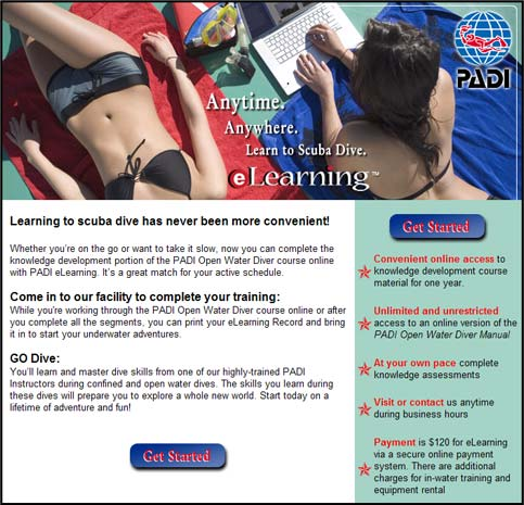 PADI e Learning courses